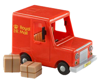 toy royal mail van with parcels